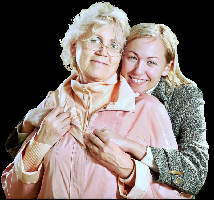 caregiver hugging the patient